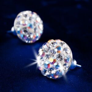 Swarovski fülbevaló Hölgyeknek sok kristályos félgömb, natúr fehér-opál MADE WITH SWAROVSKI ELEMENTS