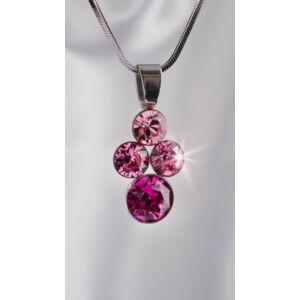 Swarovski nyaklánc hölgyeknek 4 kristályos medállal, rózsaszín színátm MADE WITH SWAROVSKI ELEMENTS