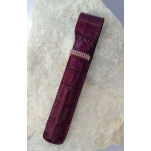 Swarovski bőr tolltok lila 20 3Sor Kristály Díszítve 1 Toll Részé Made With Swarovski Elements