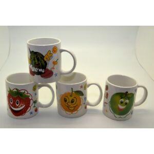 Bögre happy fruit dekor 300ml porcelán
