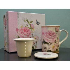 Kerámia gyógyBögre teás szett díszdobozban rózsás