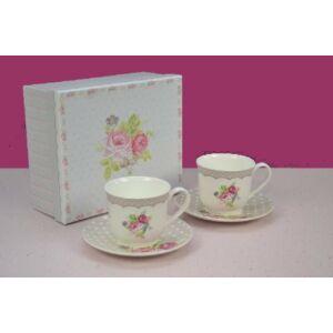 Kerámia teás szett díszdobozban 2db csésze+2 alj rózsás