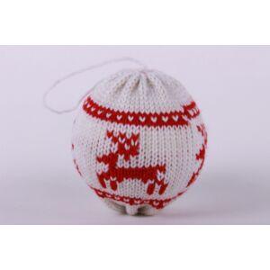 Karácsonyi dekor labda norvégmintás kötött fehér/piros