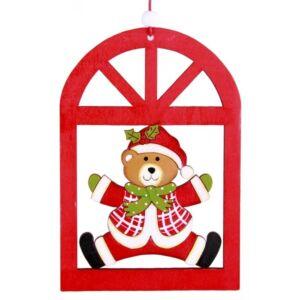 Karácsonyi ablakdísz dekor mackó