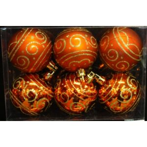 Karácsonyi dísz 6cm gömb 6/60mm/CSIGÁS NARANCS arany glitteres Karácsonyfa gömb 6cm