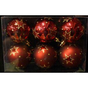 Karácsonyi dísz 6cm gömb 6/60mm/NAGYCSILLAGOS BORDÓ Karácsonyfa gömb 6cm