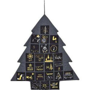 Adventinaptár 20' textil fenyőfa fekete-arany 72x82cm