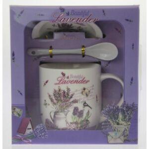 Ajándék szett Levendulás 2,5dl-es bögre+kanál+alátét (1db/szett) Lavender de Provance díszdobozos