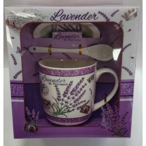 Ajándék szett Levendulás bögre+kanál+alátét (1db/szett) Lavender de Provance díszdobozos