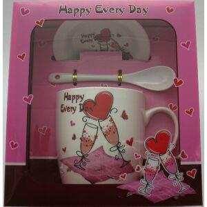 Ajándék szett Valentin napi Szívecskés bögre+kanál+alátét (1db/set) Happy Every Day feliratos, díszdobozos