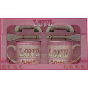 Ajándék szett Valentin napi Szívecskés bögre+kanál+alátét (2db/set) LOVE Kiss Me Quick díszdobozos