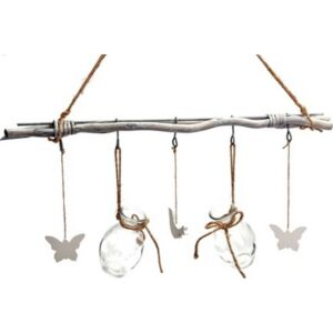 Ajtódísz dísz madaras 50x52cm fa-üveg anyagú, festett szürke vessző de vessző dekor