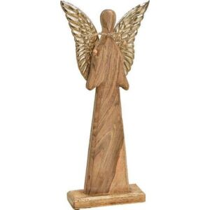 Angyal szárnyakkal fából 20 20x45x6cm mangófából kézzelfestett exkluzív különleges termék