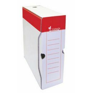 Archiváló doboz A4 Victoria 100mm piros-fehér karton Iratrendezés Victoria 38069