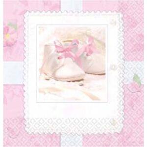 Szalvéta Tiny Blessing Pink babaszületés kislány b 33x33cm 16db/csomag 3 rétegű