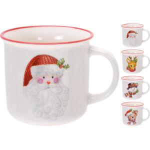 Bögre 380ml porcelán 4féle karácsonyi mintával Bögre Karácsonyi mintákkal