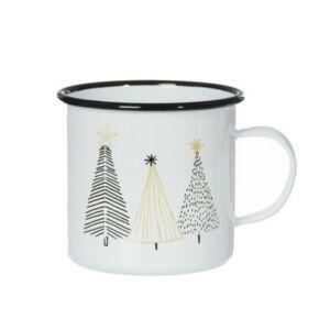 Bögre karácsonyi 20' fenyővel bádog 11x11x10cm fehér,fekete