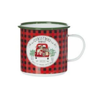 Bögre karácsonyi 21' kockás Christmas Market bádog 11x11x10cm fehér,piros,zöld