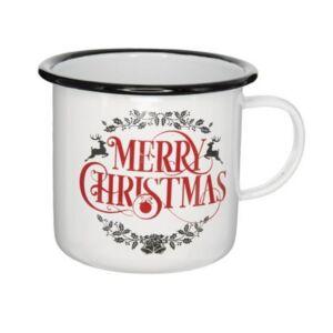 Bögre karácsonyi 21' Merry Christmas felirattal, bádog fehér,piros, fekete 11x11x10cm