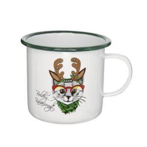 Bögre karácsonyi 21' Boldog Karácsonyt felirattal, macskával bádog fehér,zöld 11x11x10cm