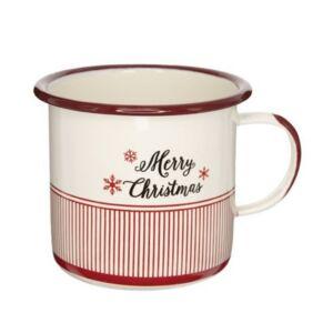 Bögre karácsonyi 21' Merry Christmas felirattal bádog fehér,piros 11x11x10cm