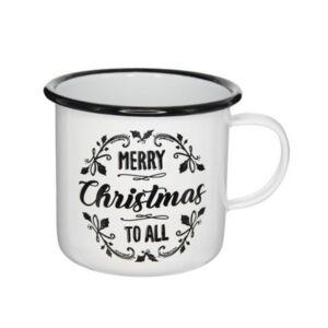 Bögre karácsonyi 21' Merry Christmas felirattal bádog fehér,fekete 11x11x10cm