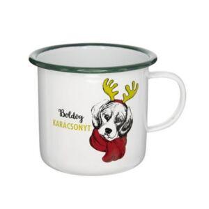 Bögre karácsonyi 21' Boldog Karácsonyt felirattal, kutyával bádog fehér,zöld 11x11x10cm