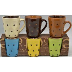 Bögre kávés pöttyös 200ml 3színben 2féle mintával