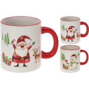 Bögre kerámia 2féle Mikulás hóember mitás karácsonyi bögre Bögre Karácsonyi mintákkal