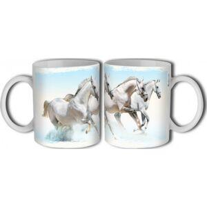 Bögre kerámia 3dl Fehér lovak mintás bögre