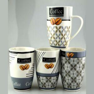 Bögre kerámia 420ml Coffee-Abstrakt, 4 féle