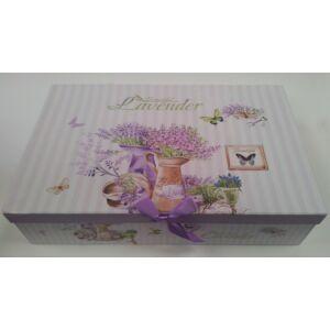 Bögre kerámia díszdobozban Beautiful Lavender feliratos, Levendula 6+6db-os kerámia szett, csésze+alj