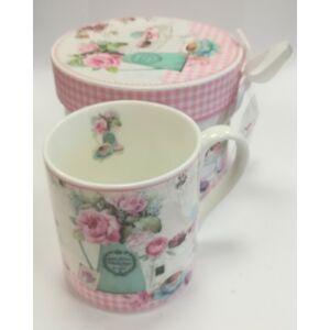 Bögre Kerámia kávés Virág-süti mintázatú díszdobozos A dobozon szalag és kristály dekorral.