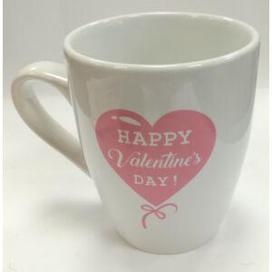 Bögre kerámia Valentin Love - Happy Valentin Day felirattal fehér alapon pink szív, benne a felirat