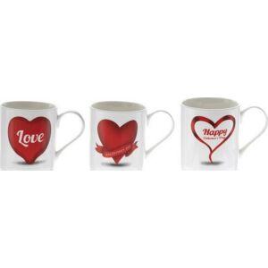 Bögre kerámia valentin napi 3féle piros fehér szíves
