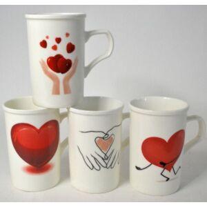 Bögre kerámia Valentin napi Heart by Heart, nagy 13x8, 6cm 4féle különböző szívecskés minta 253136