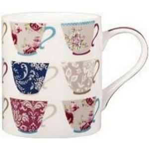 Bögre mintás Tea fehér lila füllel Floral Teacup
