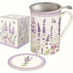Bögre porcelán 300ml tetővel, fémszűrővel Lavender Field