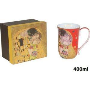 Bögre porcelán 400ml Klimt Kiss piros