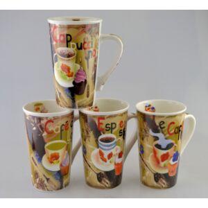 Bögre porcelán 500ml-es V forma 4féle kávés mintával 9x14,5cm kávés bögre