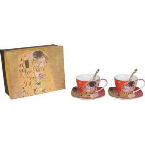 Bögre porcelán Klimt 300ml 2db-os teás páros szett piros