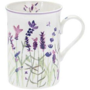 Bögre porcelán levendulás 11x8x10cm, Lavender-levendulás