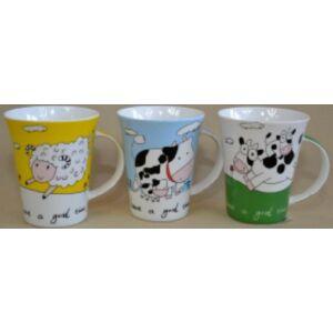 Bögre porcelán íves 300ml Bohókás állatok -Have a Good time- 3féle 250215