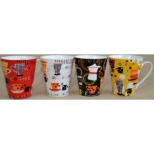 Bögre Retro Coffee dekor 300ml íves porcelán bögre, 4különböző mintával