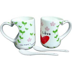 Bögre porcelán szett Valentin Love is Happy - Everyday happy day 2db feliratos kerámia bögre kanállal