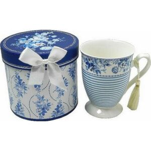 Bögre porcelán teás talpas díszdobozban Kék-halvány kék virágminás porcelán