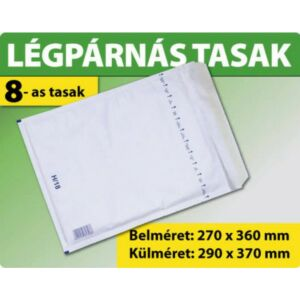 Boríték légpárnás W8/H18 Euro szilikonos 265x360 fehér 100db/doboz