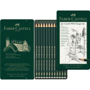 Faber-Castell grafitceruza 9000 Design szett 12db 5H-5B AG-Castell fémdobozban 119064