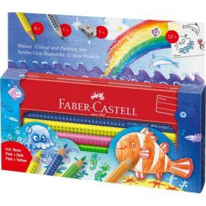 Faber-Castell színes ceruza 6+3db + hegy Jumbo Grip fém tolltartóban 110908