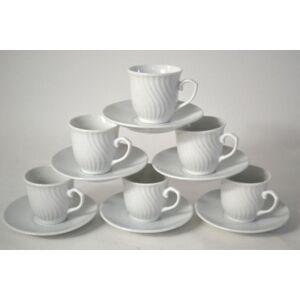 Csésze szett kerámia Stormy 6személyes hófehér kávés szett 6db kávécsésze + 6db csészealj